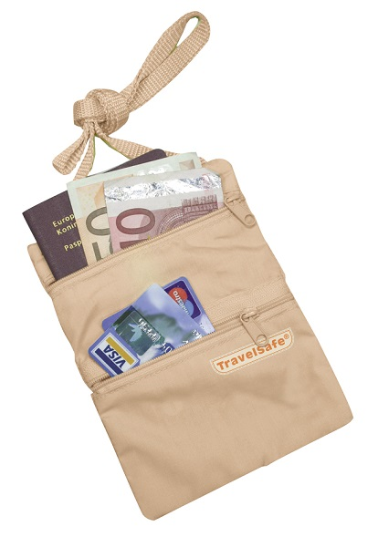 Travelsafe Beige Reisportemonnee Halstasje Security Pocket met inhoud