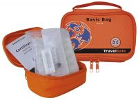 Open en gesloten oranje Travelsafe Basis steriele EHBO kit